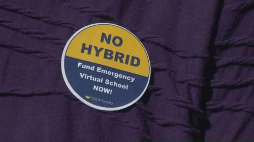 High school teachers' union protests hybrid learning model